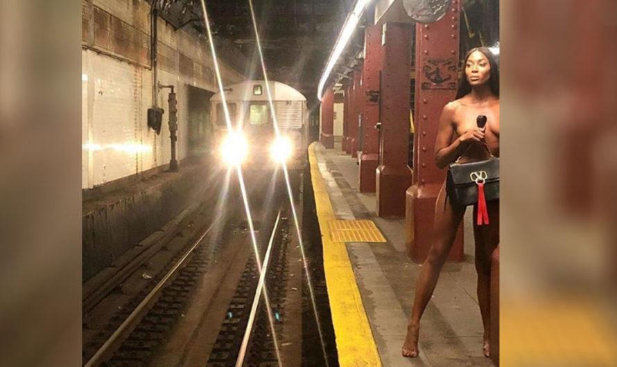 ¡Naomi Campbell como Dios la trajo al mundo! Posó en un subte de Nueva York