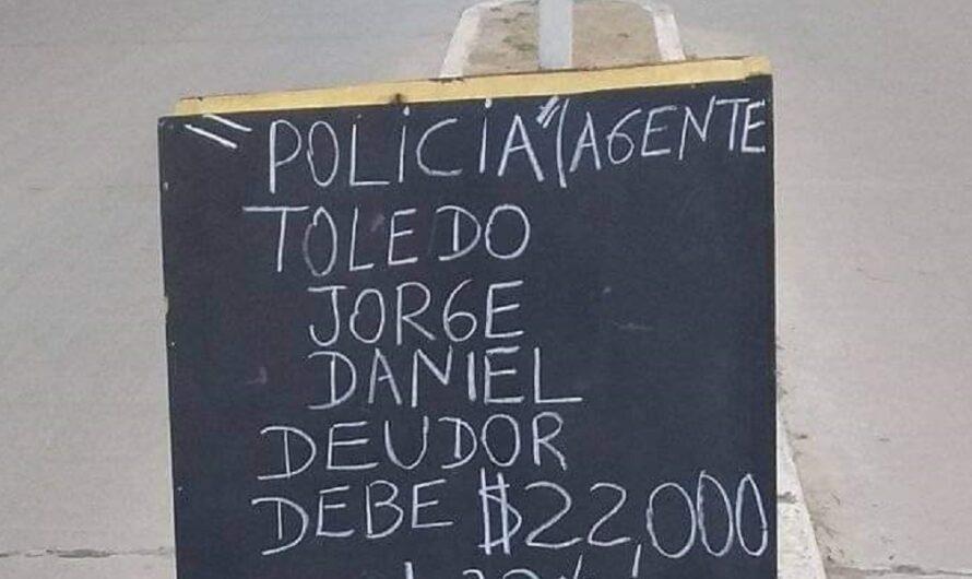 Un policía de Salta debía plata y le hicieron un escrache en plena calle [FOTO]