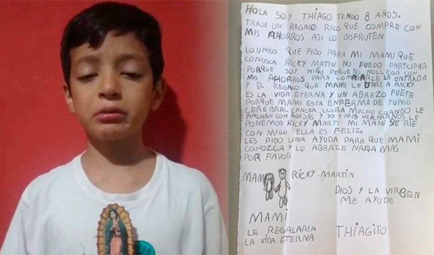 Niño de 8 años se volvió viral: gastó todo sus ahorros para que su mamá con tumor pueda conocer a Ricky Martin