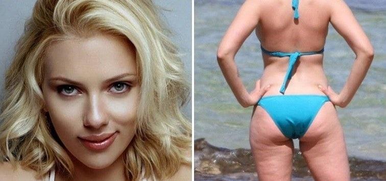 Scarlett Johansson, fuertemente criticada por fotos con celulitis y barriguita