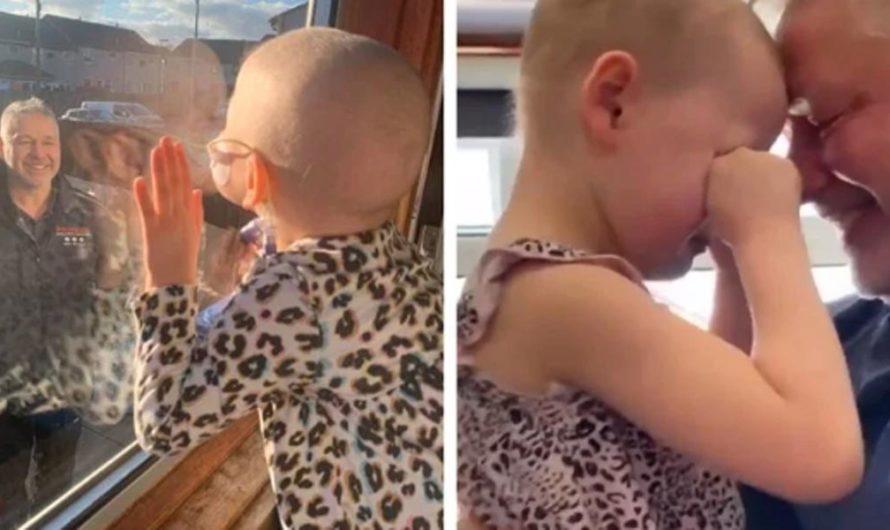Hasta las lágrimas: así fue el reencuentro de una nena con cáncer y su papá luego de casi 2 meses