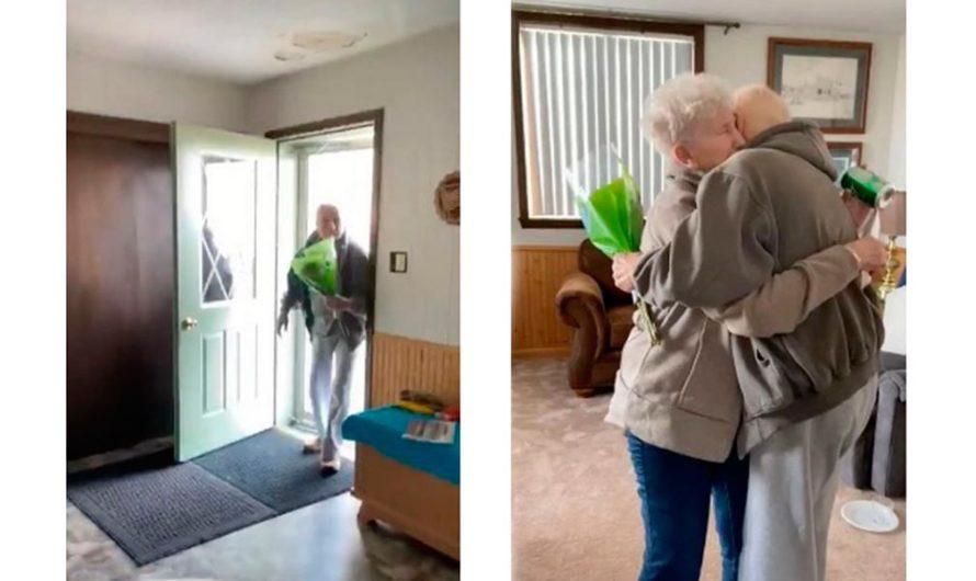 El emotivo reencuentro de una pareja de ancianos separados por la cuarentena