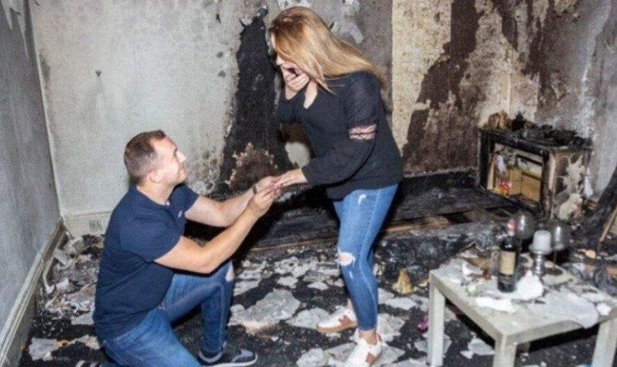 Prendió velas para proponerle matrimonio a su mujer y terminó quemando toda la casa